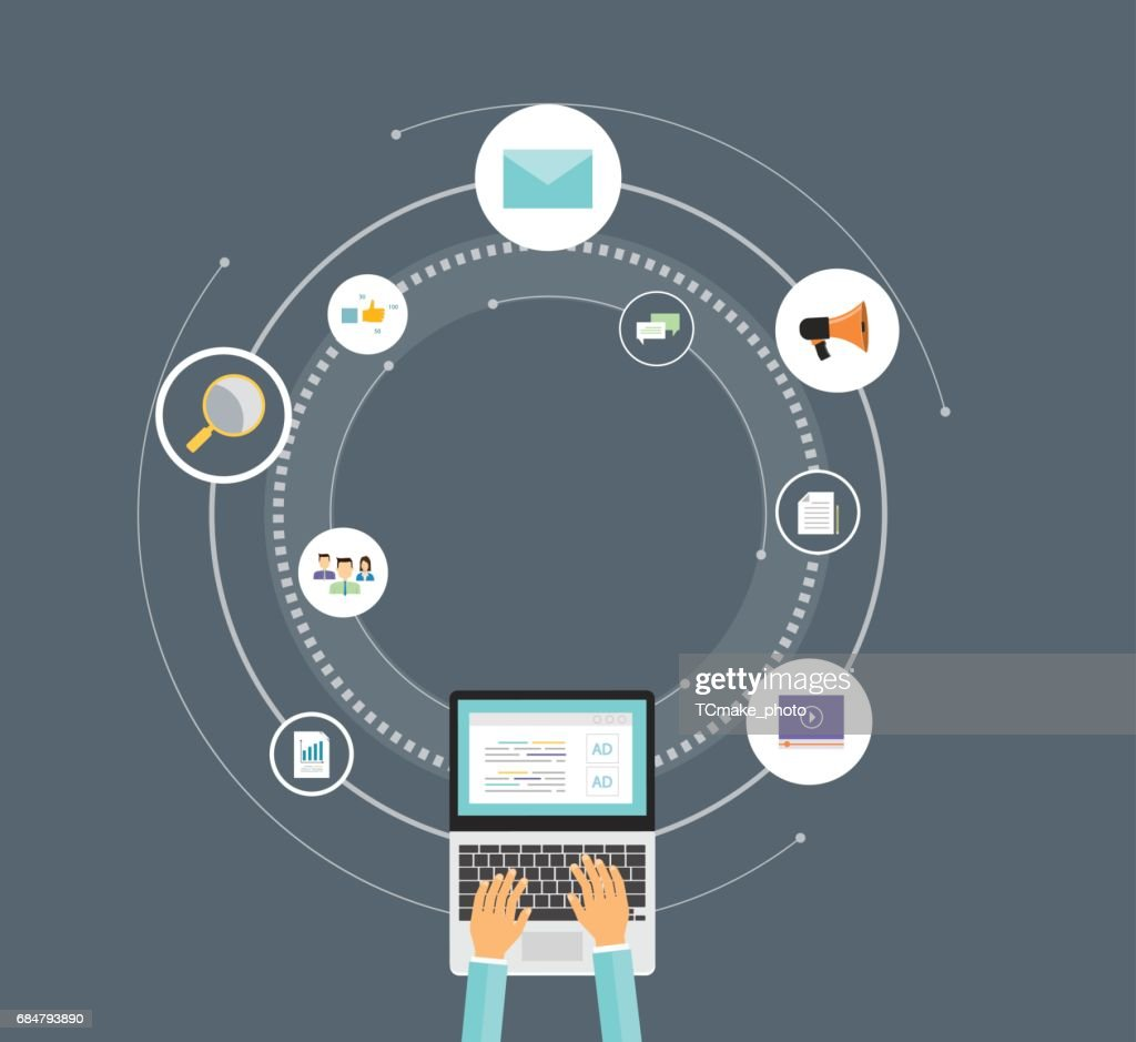 flat vector technology business digital marketing concept and online business concept