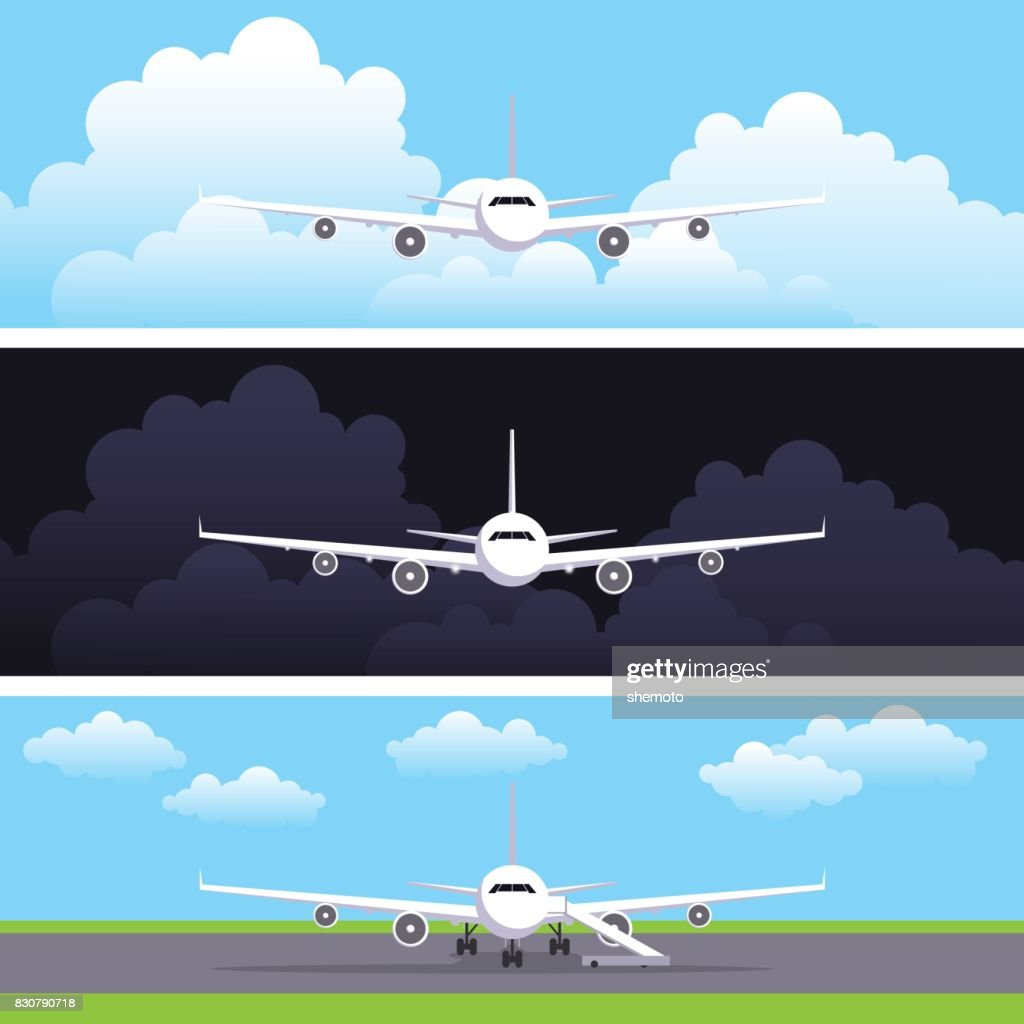 Flat vector web banners set with airplanes. Day flight, night flight. The plane costs on a landing strip at the airport. Header or flyer vector template