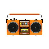 Flat vintage orange tape recorder for audio cassettes.