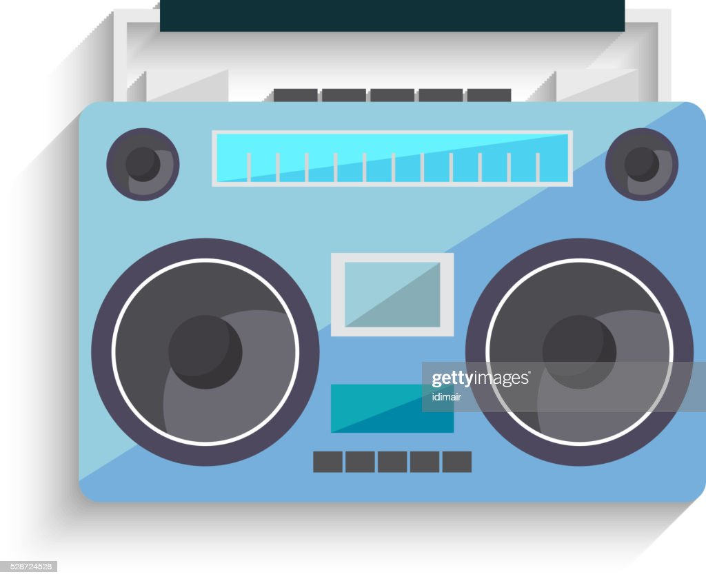 Flat vintage tape recorder for audio cassettes.Vector