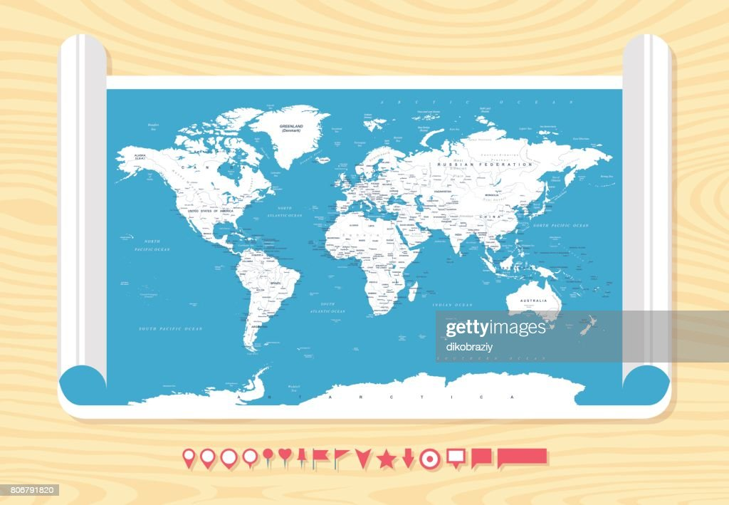 Flat Vintage World Map On Wood Texture Vector Illustration Vector - Vintage world map on wood