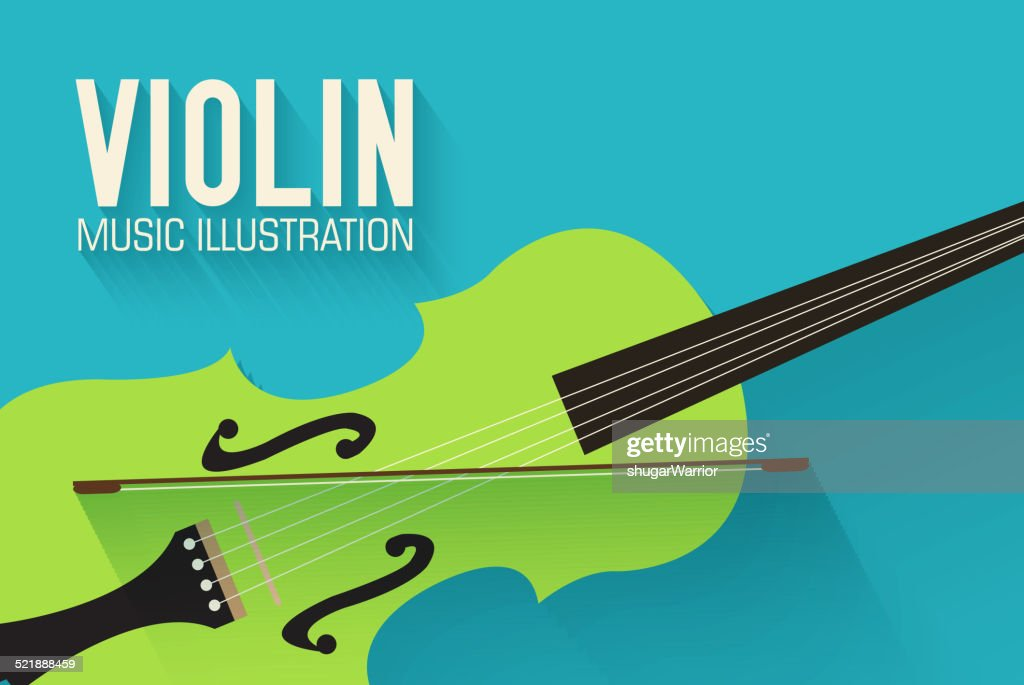 flat violin guitar vector background concept