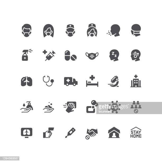 flat viral infection icons - respiratory disease stock illustrations
