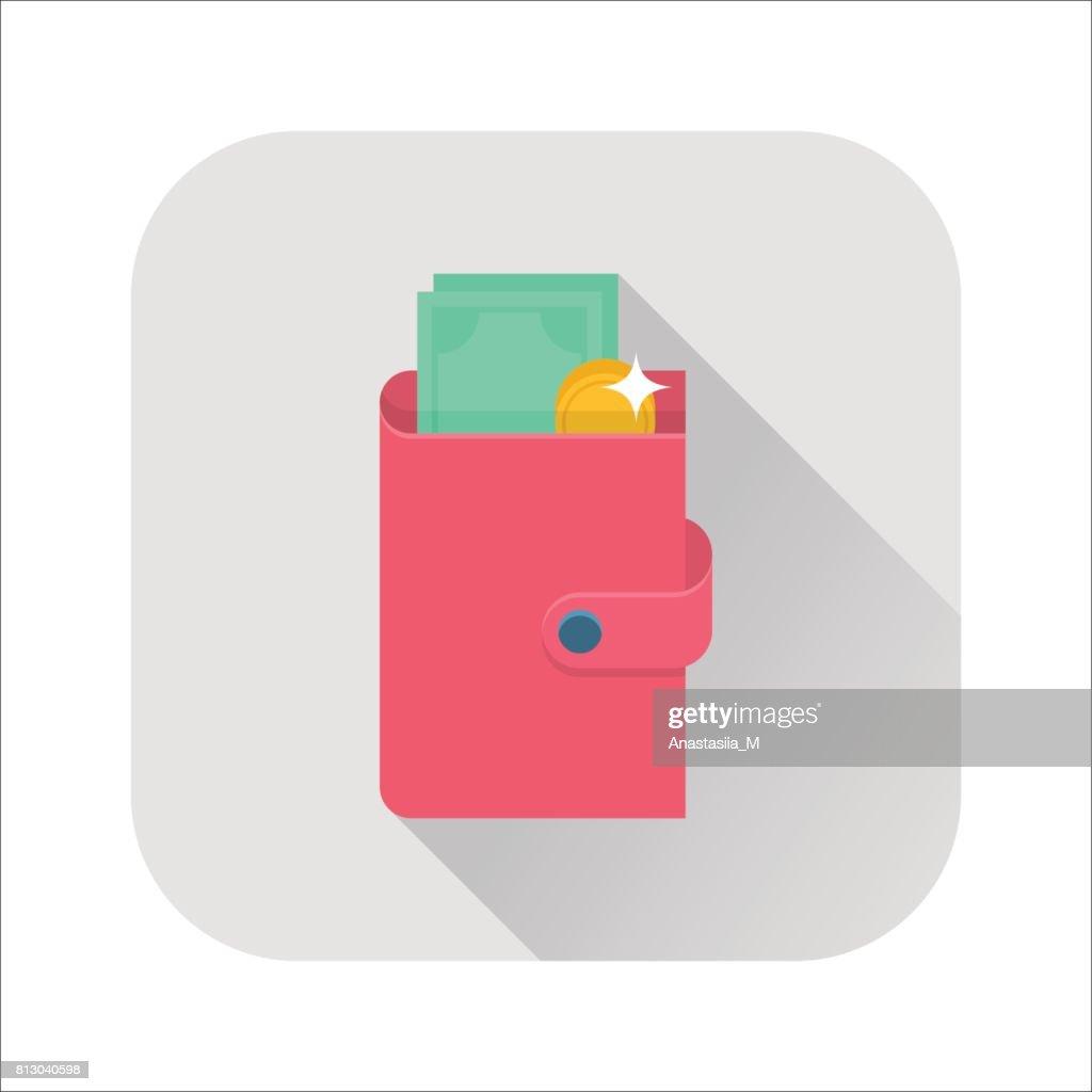 Flat wallet icon