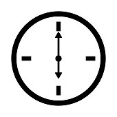 Flat watch icon. Silhouette time web clock