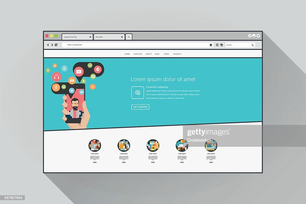 Flat Web browser with website.