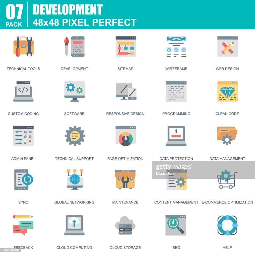 Flat web design and development icons set for website