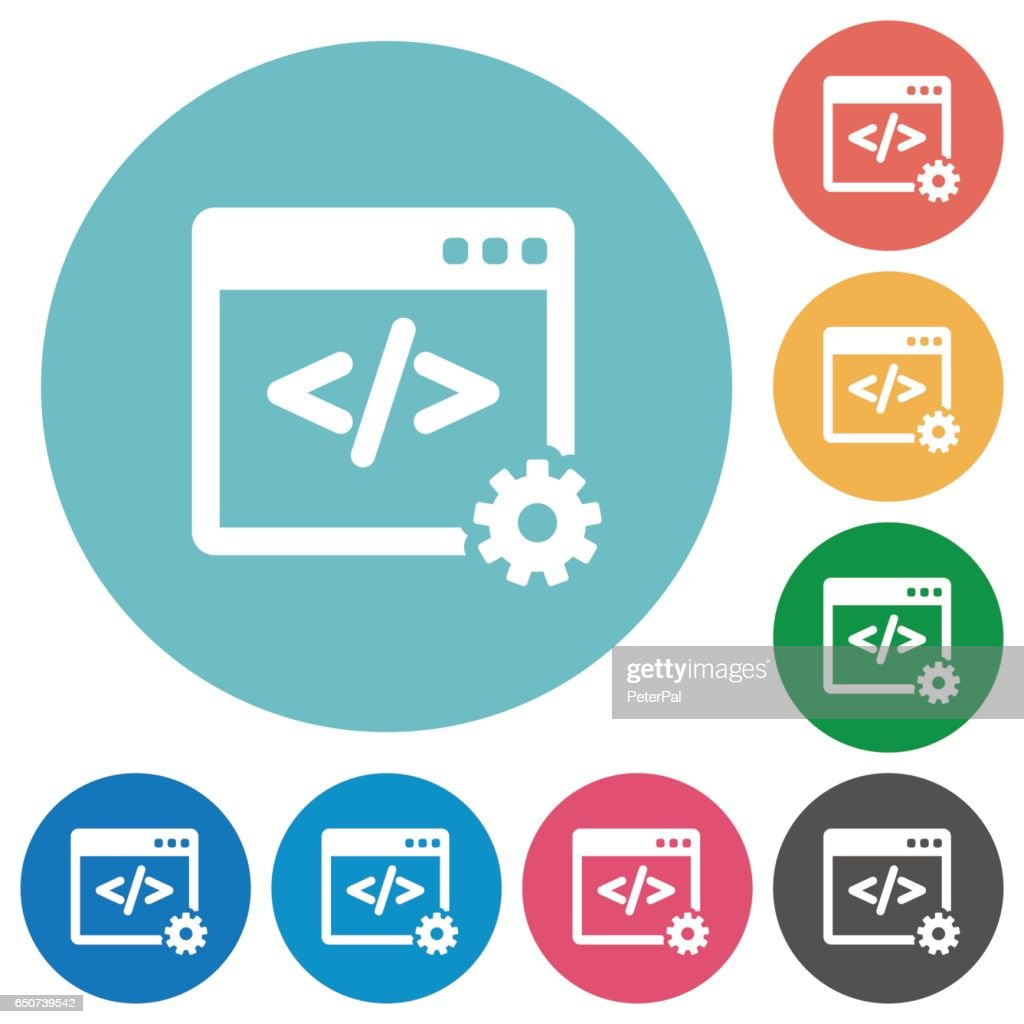 Flat web development icons