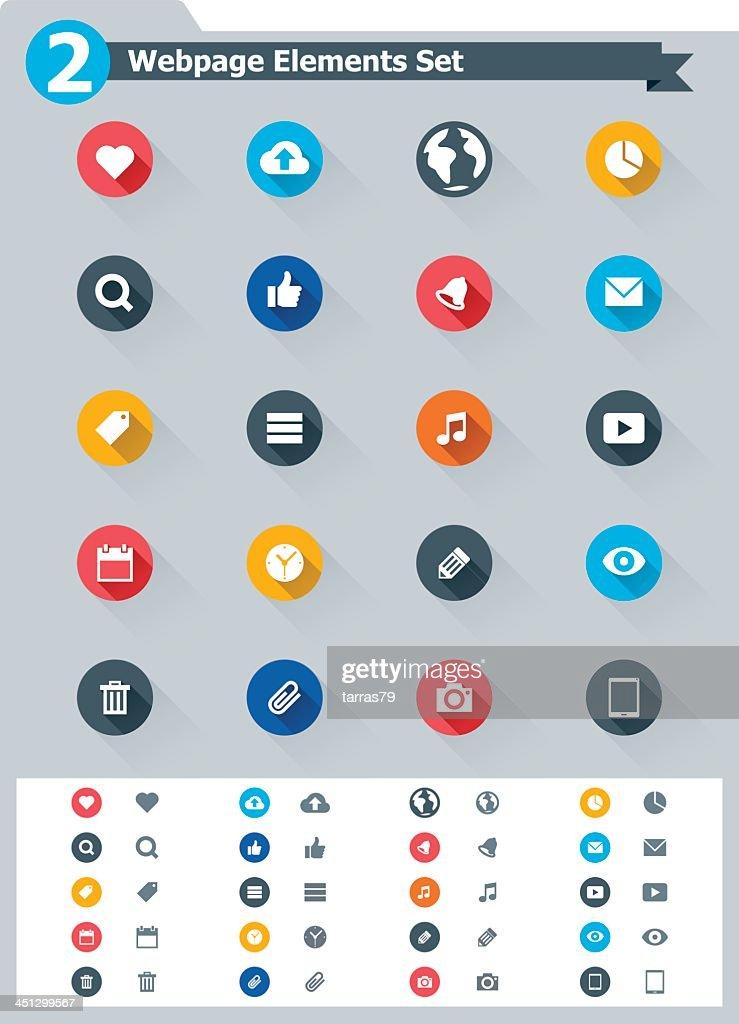 Flat webpage elements icon set of twenty