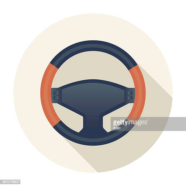 flat wheel icon - steering wheel stock illustrations