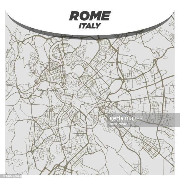 flat white and beige city street map of rome, italy on modern creative background - roma italia - italian open tennis stock illustrations