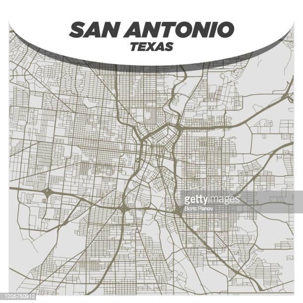 現代の創造的背景にサンアントニオテキサス州のフラットホワイトとベージュシティストリートマップ - テキサス州サンアントニオ点のイラスト素材/クリップアート素材/マンガ素材/アイコン素材