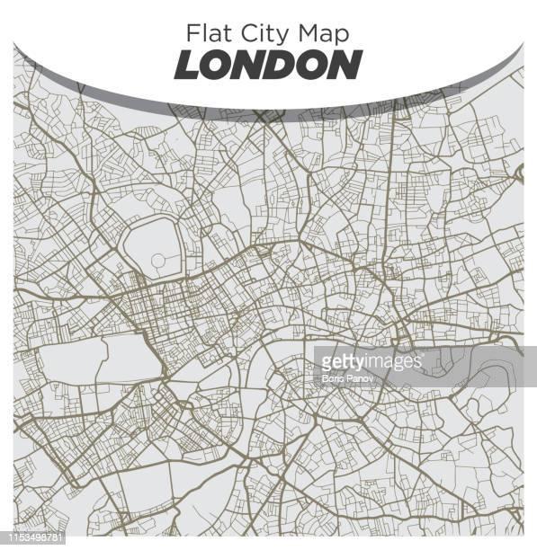 ilustraciones, imágenes clip art, dibujos animados e iconos de stock de plano blanco y beige mapa del centro de londres inglaterra - greater london