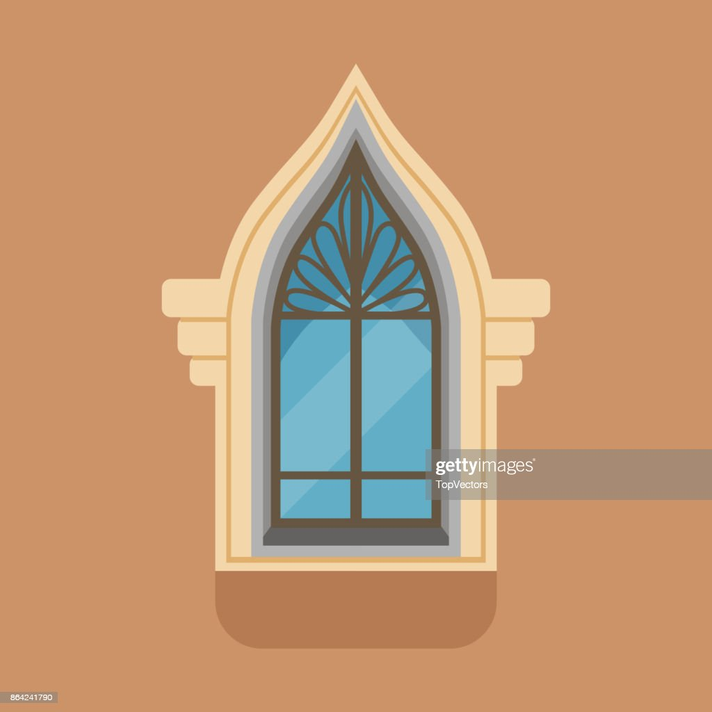 Flat Window With Unusual Gothic Form On Brown Wall Vector Art