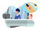 Flat Woman Dreams about Vacation Sitting at Work.