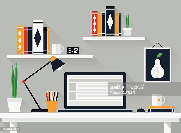 flat work space - image stock illustrations