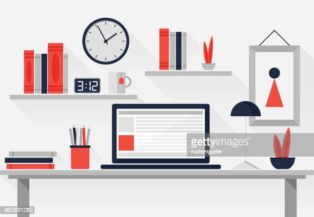 stockillustraties, clipart, cartoons en iconen met vlakke werkplek - kantoor
