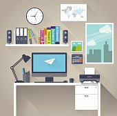 Flat workspace with long shadow