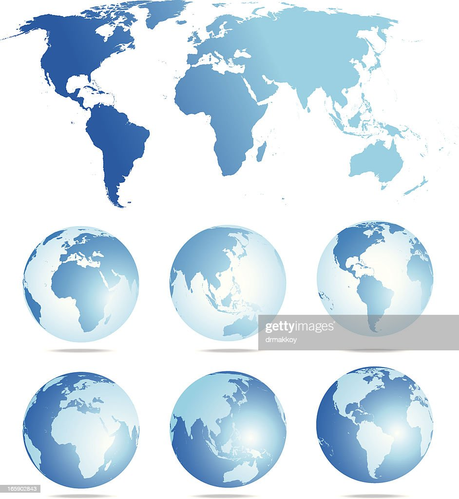 Flat World Map And Six Globe Showing Different Angles Vector Art