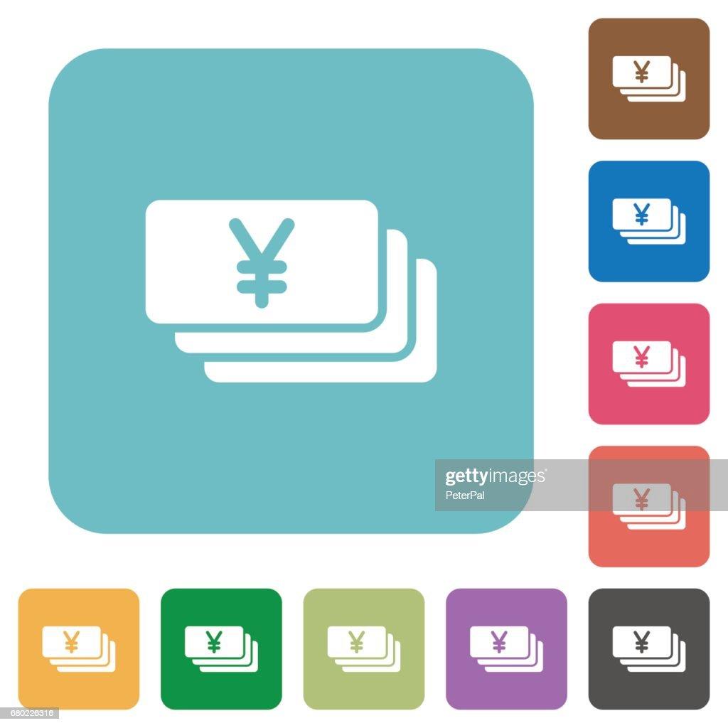 Flat Yen banknotes icons