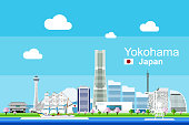 Flat Yokohama Cityscape