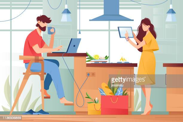 Flat young man with beard and beauty woman couple with gadgets in life.