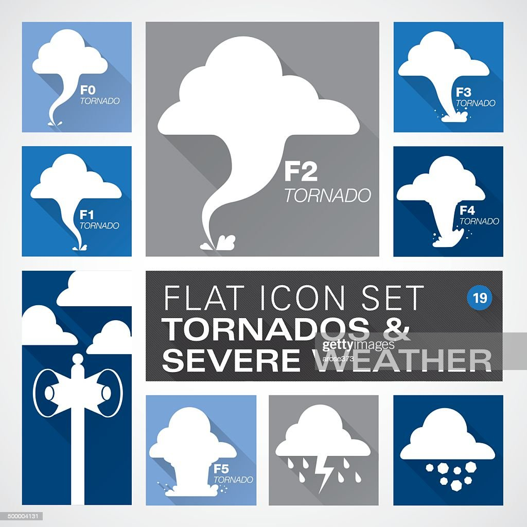 Flat19 icons - Tornados & Severe Weather : stock illustration