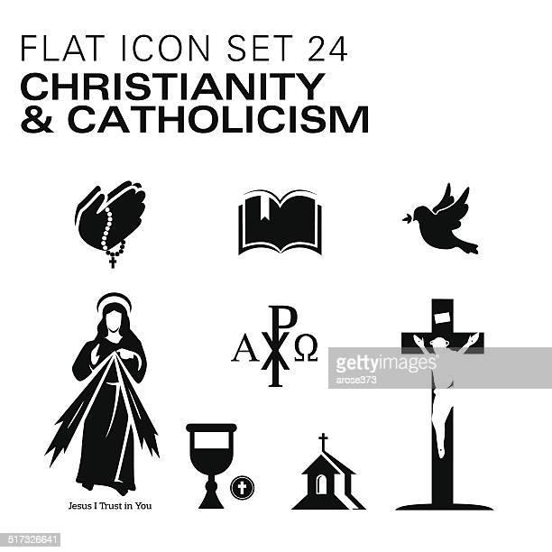 flat24-christianity and catholic religious - catholicism stock illustrations