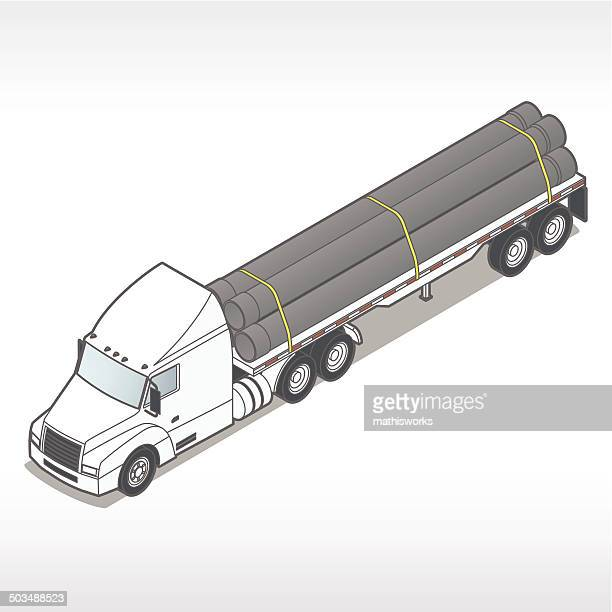 flatbed truck with pipes illustration - mathisworks stock illustrations