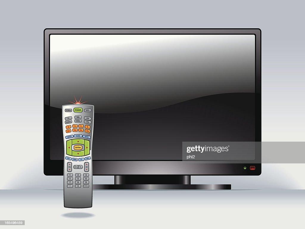フラットスクリーンテレビとリモートコントロールベクター ベクトル