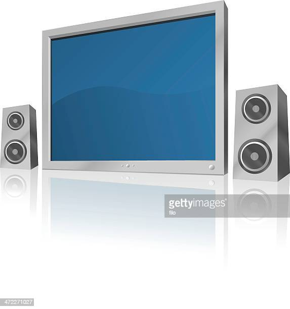 Flatscreen TV and Speakers [vector]