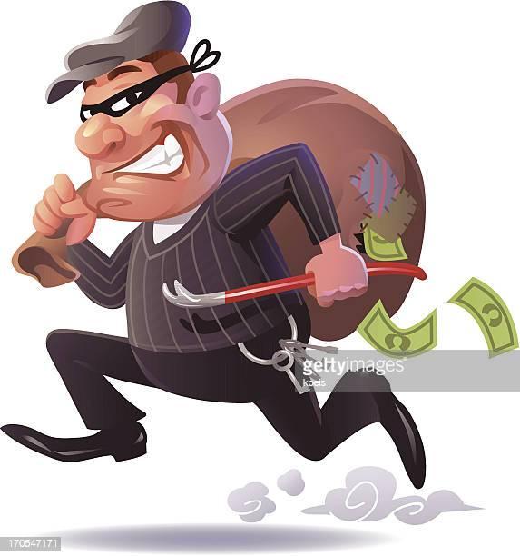 fleeing burglar - thief stock illustrations