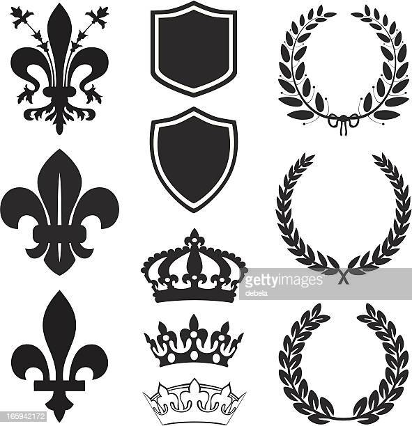 fleur de lis heraldry set - queen royal person stock illustrations