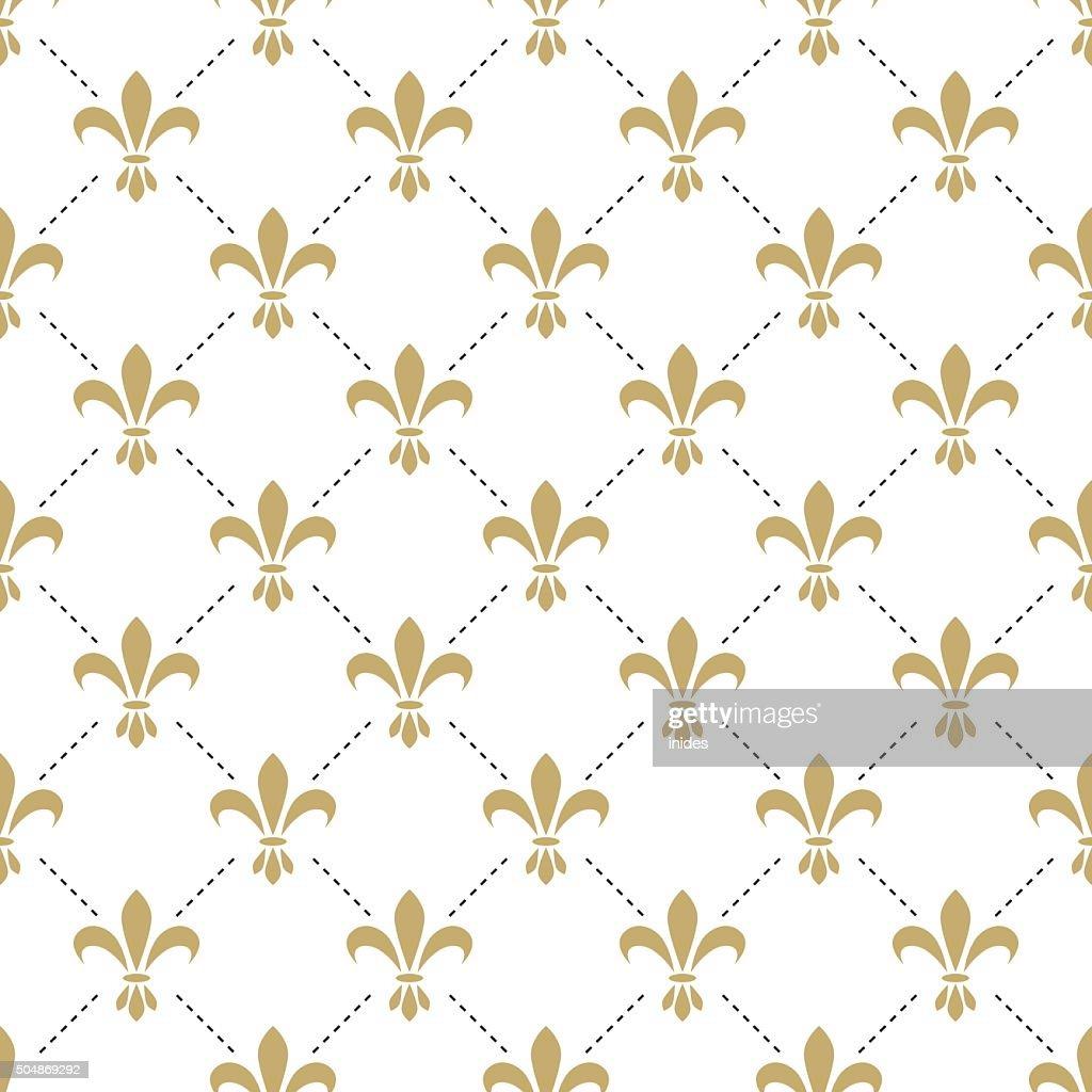 Fleur de lis seamless vector pattern. French vintage stylized lily