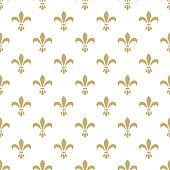Fleur de lis seamless vector pattern. French vintage stylized lily