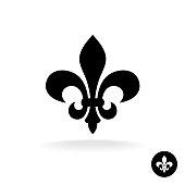 Fleur de lis simple elegant black silhouette symbol