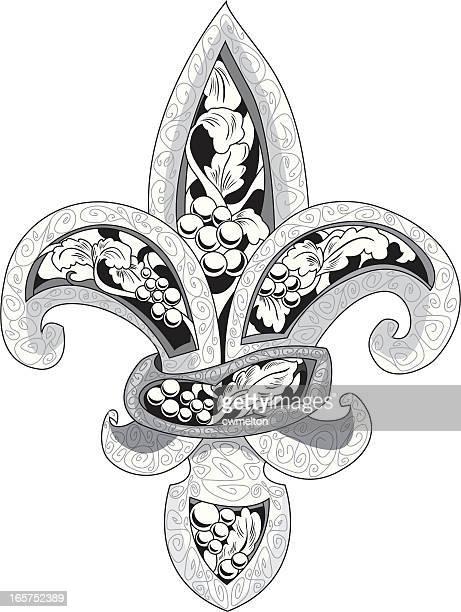 ilustraciones, imágenes clip art, dibujos animados e iconos de stock de salón fleur de lis-hierro forjado - barrio francés