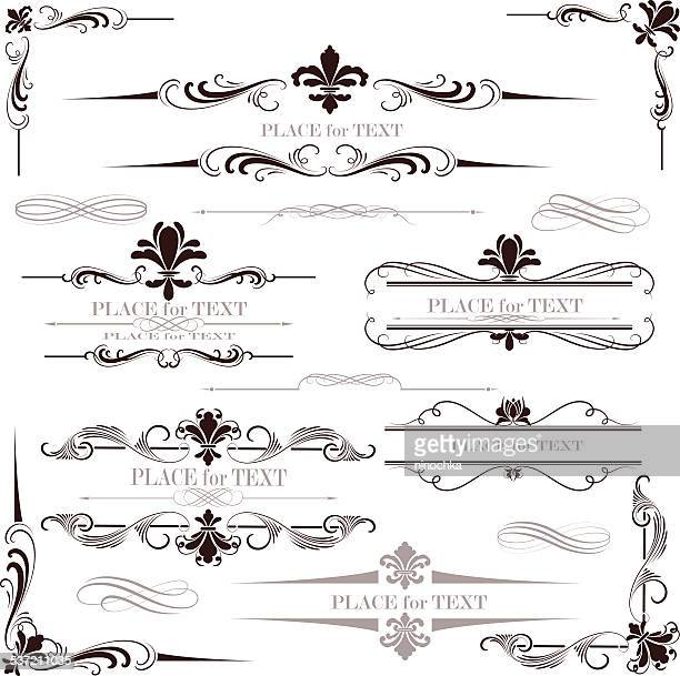 fleur de lys calligraphy design - french culture stock illustrations