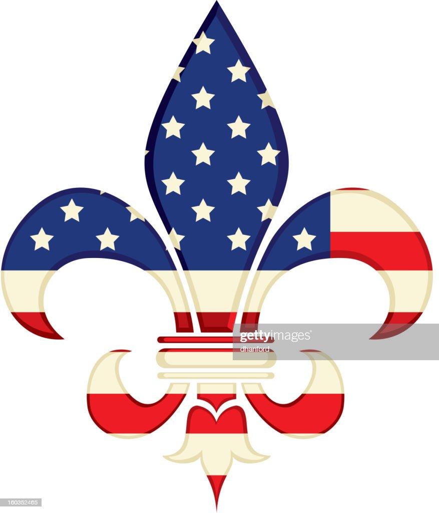 Fleur de Lys with American Flag design
