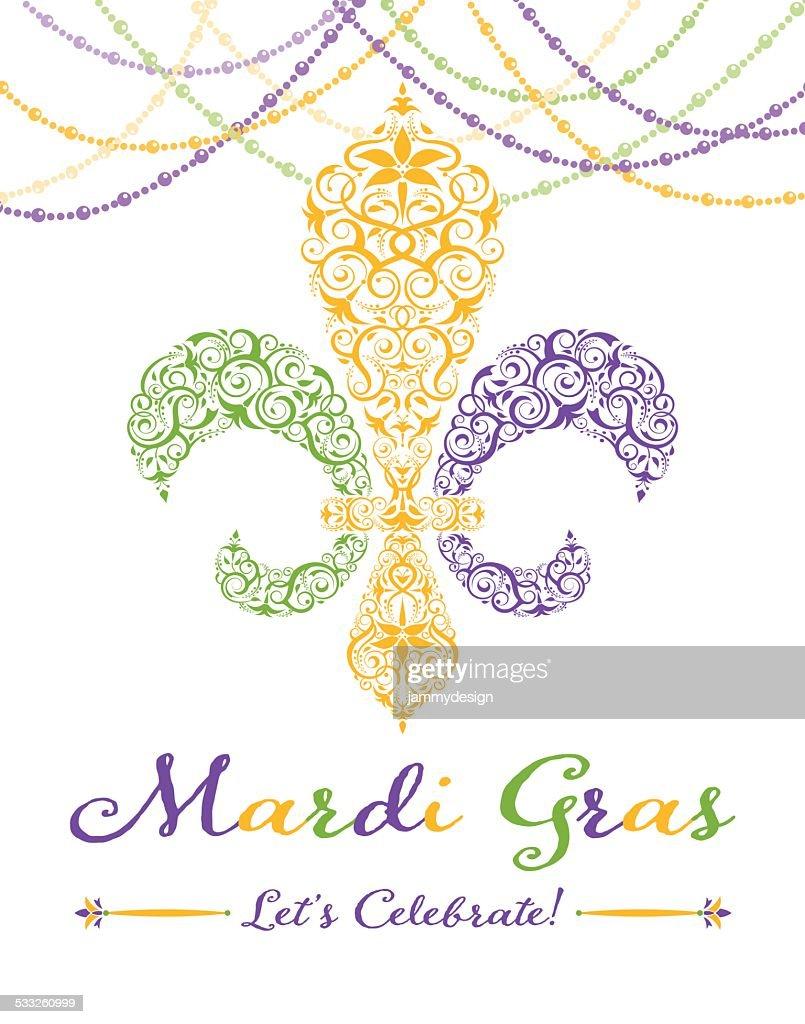 Fleurdelis Mardi Gras Party Invitation Vector Art | Getty Images