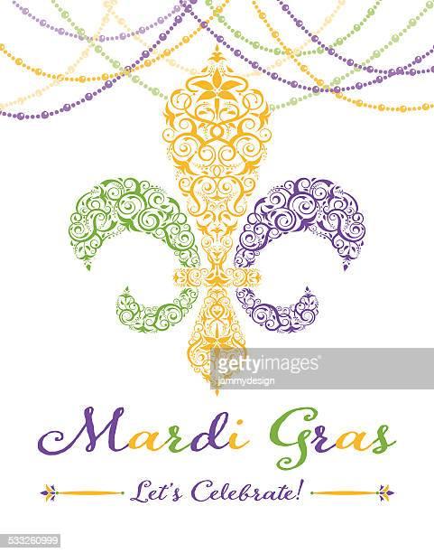 illustrations, cliparts, dessins animés et icônes de fleur-de-lis invitation à la fête de mardi gras - fleur de lys