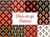 Fleur-de-lys royal lily seamless patterns set