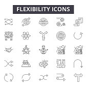 Flexibility line icons, signs, vector set, linear concept, outline illustration