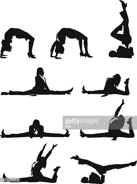 flexible businesswoman doing the splits - dipping stock illustrations, clip art, cartoons, & icons