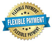 flexible payment round isolated gold badge