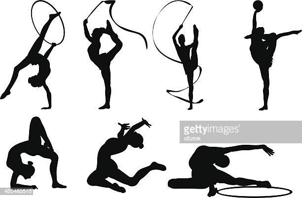 flexible position - ribbon routine rhythmic gymnastics stock illustrations