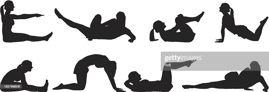 Flexible woman stretching and doing yoga : stock illustration