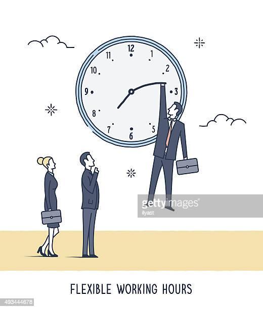 flexible working hours - flexibility stock illustrations