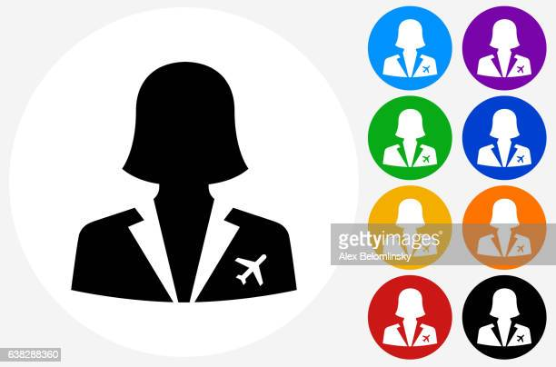 Flight Attendant Icon on Flat Color Circle Buttons
