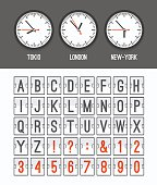 Flight destination alphabet and numbers display board vector illustration